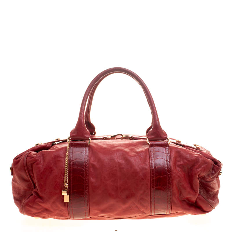 Balenciaga Red Leather and Ostrich Whistle Satchel