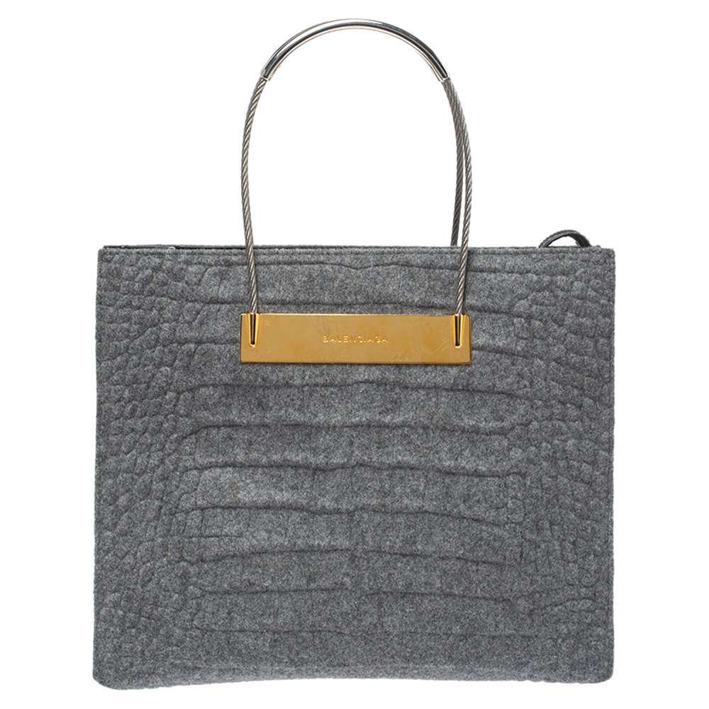 Balenciaga Grey Wool and Leather Small Cable Shopper Tote