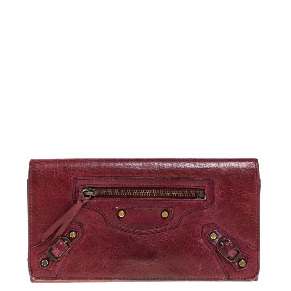 Balenciaga Bordeaux Leather City Wallet