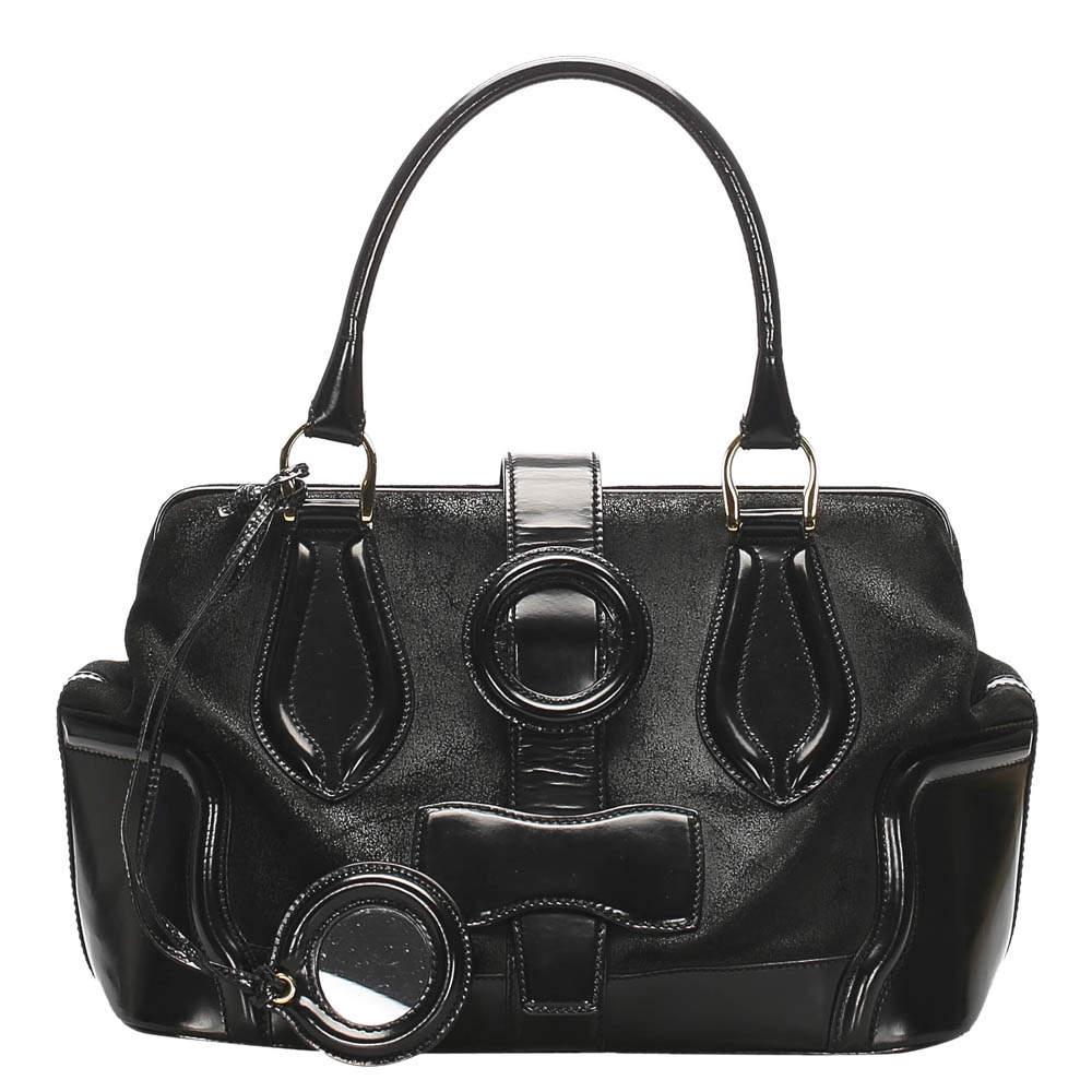 Balenciaga Black Patent Leather/Suede Sac Superb Bag