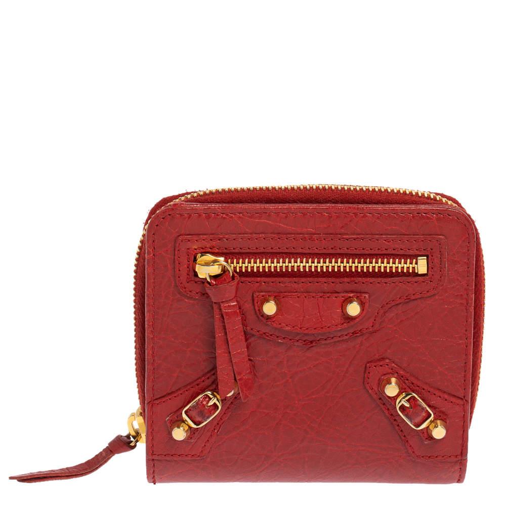 Balenciaga Rouge Groseille Leather Zip Around Compact Wallet