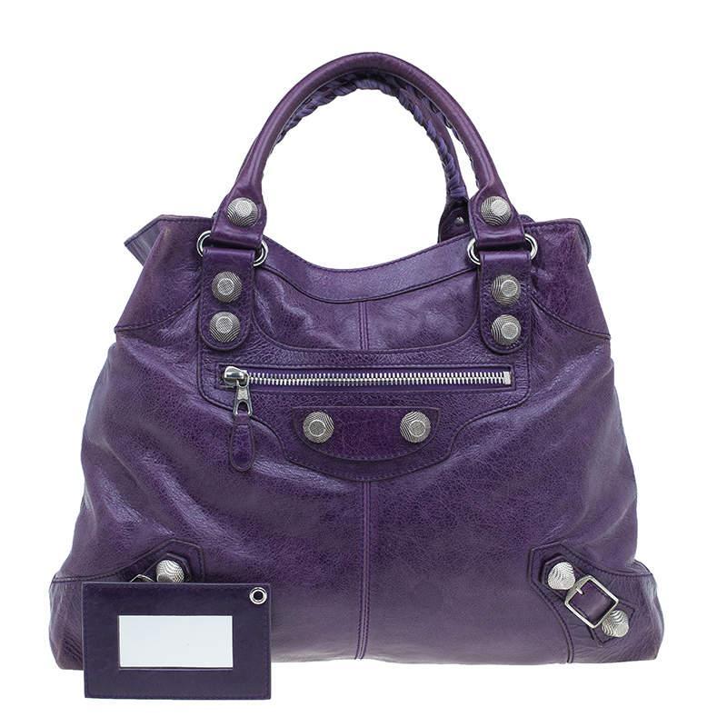 Balenciaga Purple Lambskin Leather Arena Giant Brief Tote