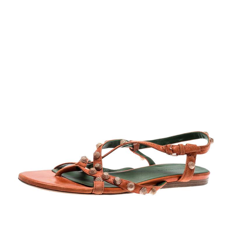 Balenciaga Orange Anthracite Lambskin Leather Arena Strappy Flat Thong Sandals Size 40
