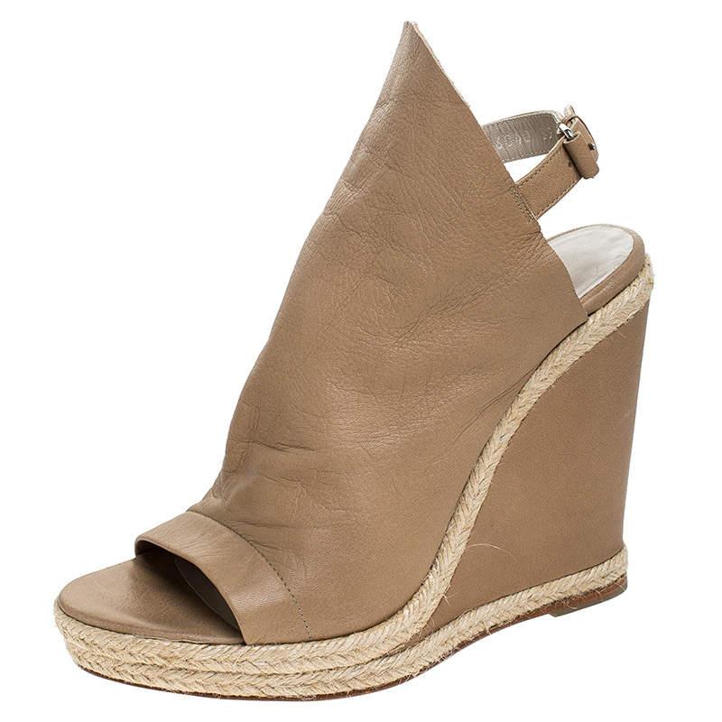 Balenciaga Beige Leather Espadrilles Wedges Platform Sandals Size 39