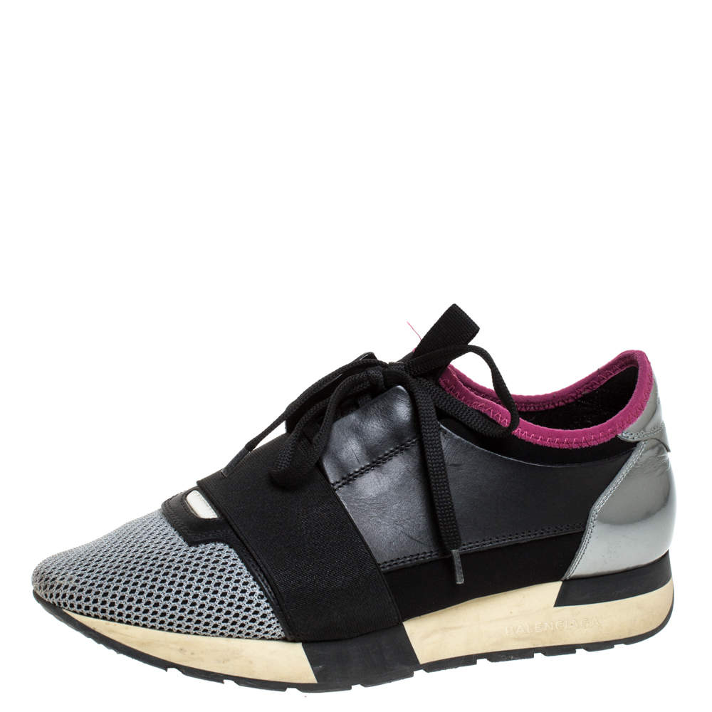 Balenciaga Black/Pink Leather, Suede And Nylon Race Runners Sneakers Size 38