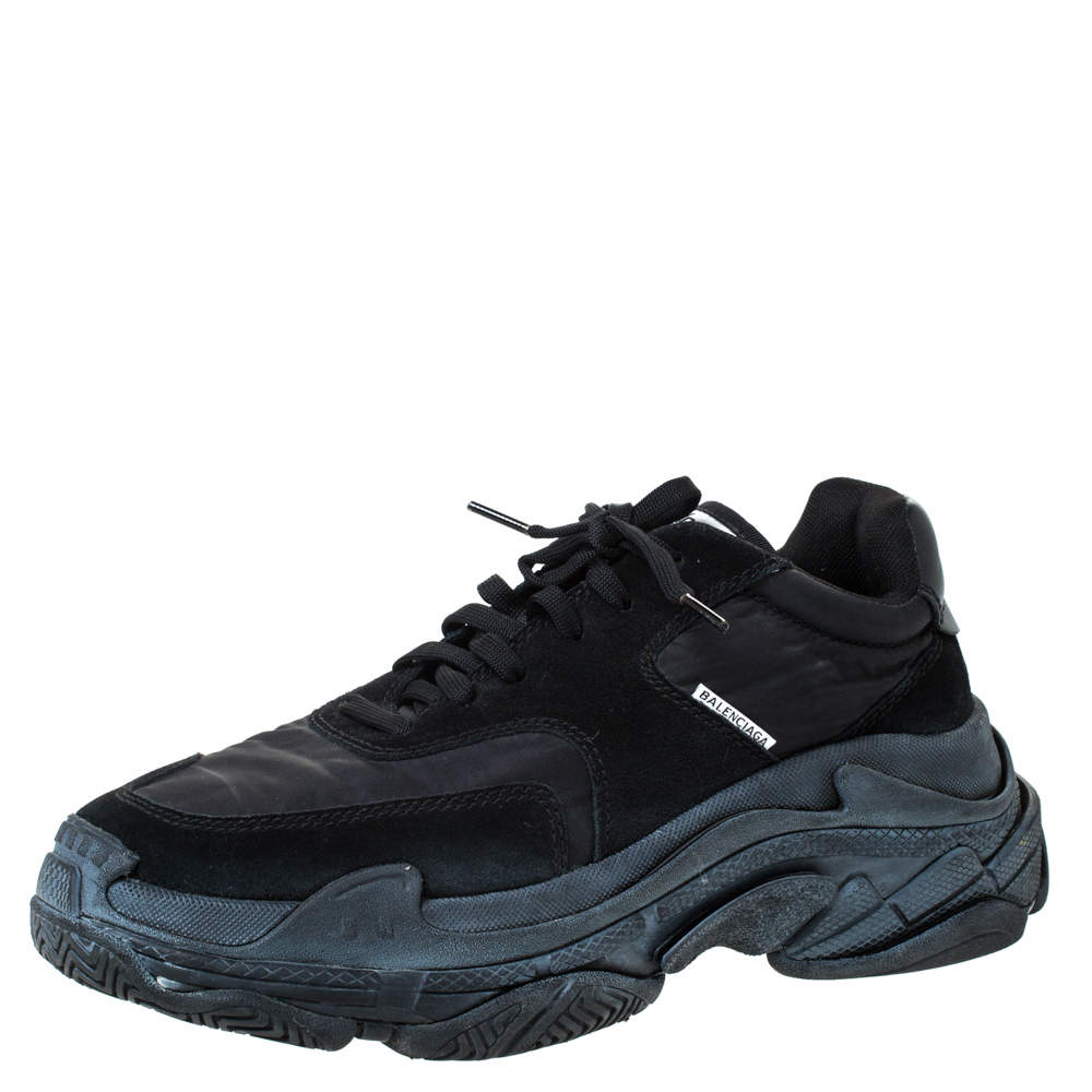 Leather Triple S Platform Sneakers Size