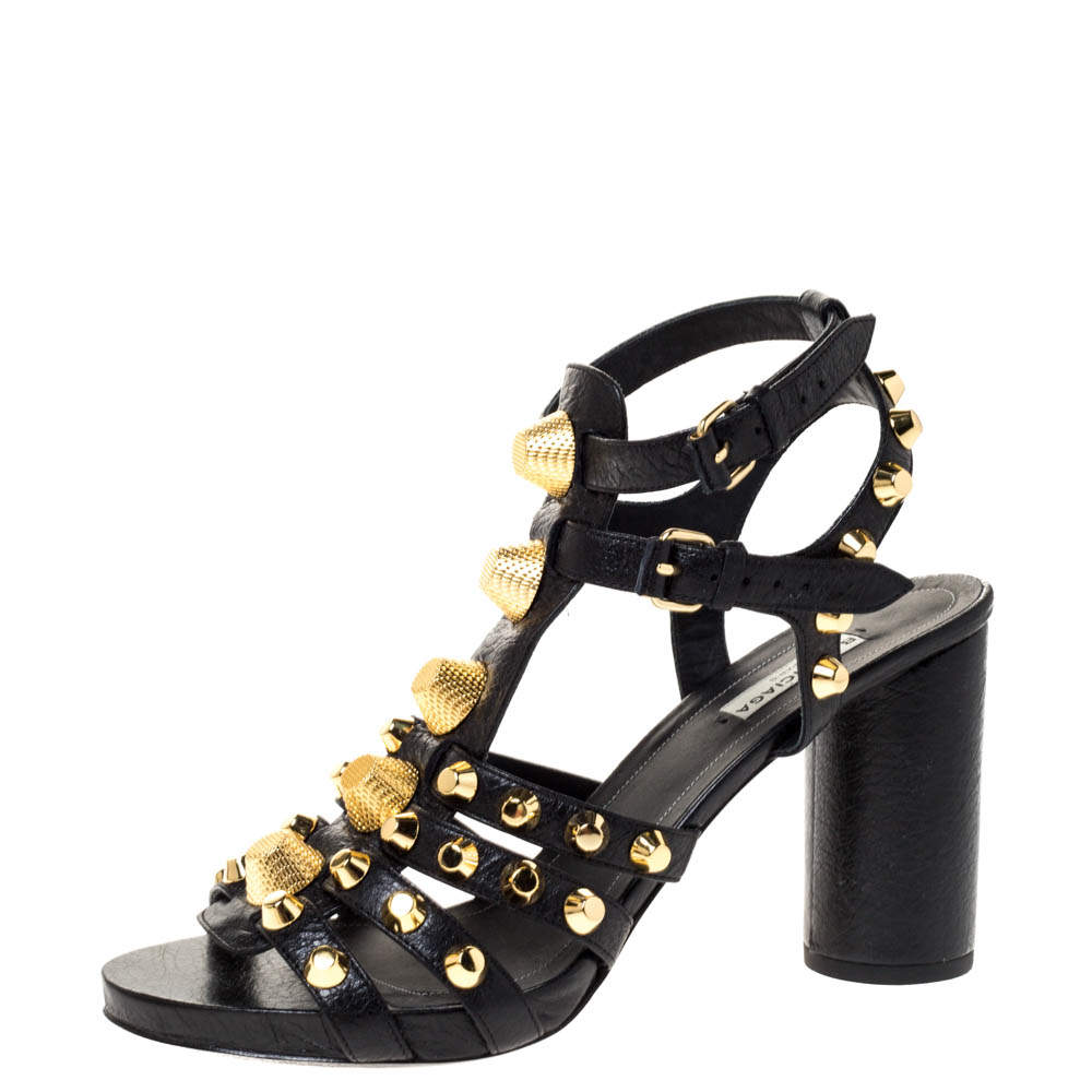 Balenciaga Black Leather Arena Giant Sandals Size 39.5