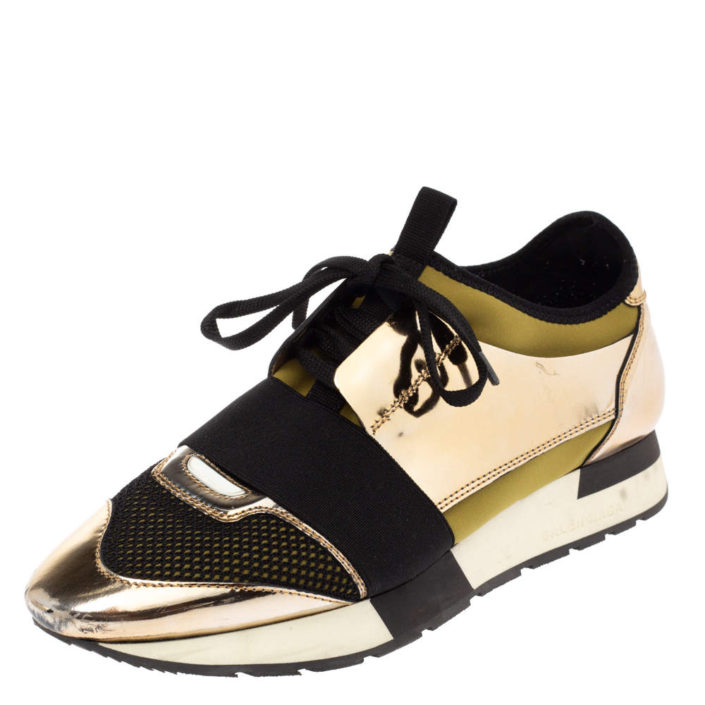 Balenciaga Gold Patent Leather, Mesh and Neoprene Race Runner Sneakers Size 39