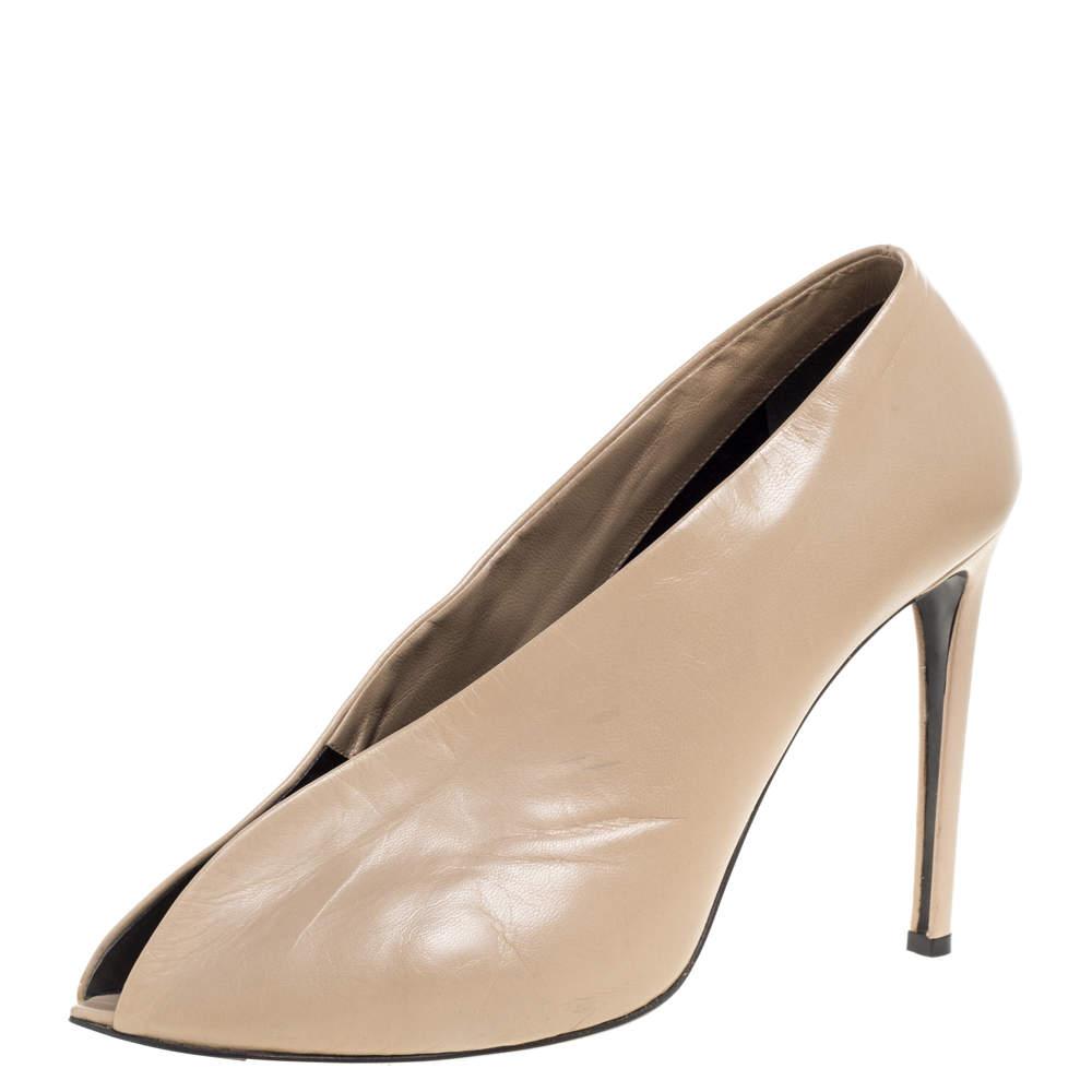 Balenciaga Beige Leather Split Vamp Ankle Booties Size 41