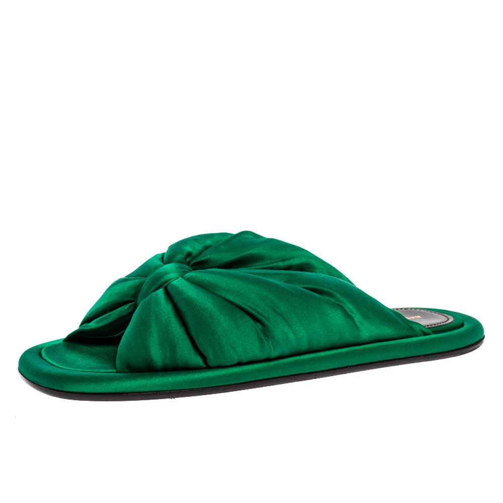 Balenciaga Green Satin Bow Flat Slides Size 36