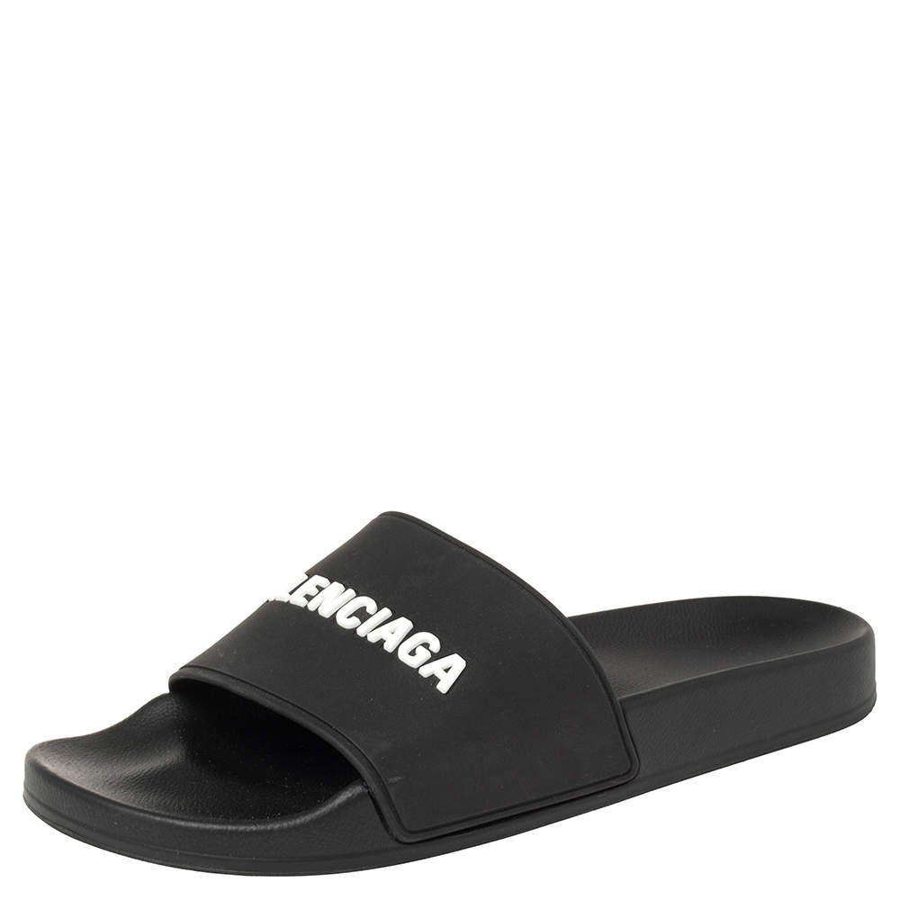 Balenciaga Black Rubber Piscine Slide Sandal Size 41