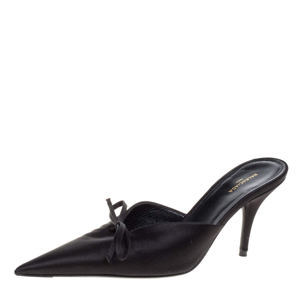 Balenciaga Black Satin Knife Pointed Toe Mules Size 36
