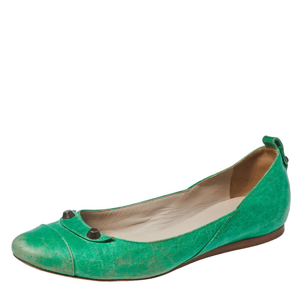 حذاء فلات باليه بالنسياغا مرصع أرنا جلد أخضر مقاس 38.5