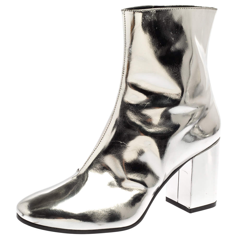 Balenciaga Metallic Silver Patent Leather Ankle Boots Size 37