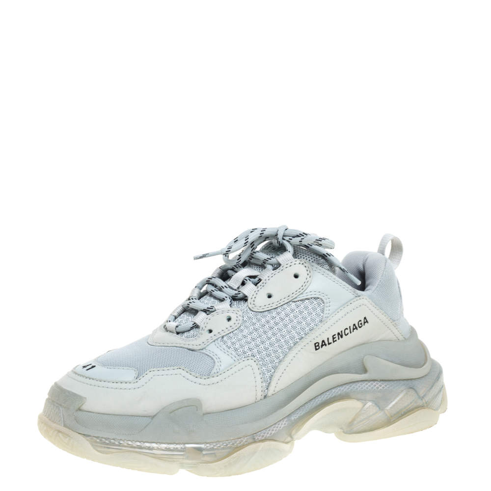 Balenciaga Pearl Grey Mesh And Leather Triple S Low Top Sneakers Size 41