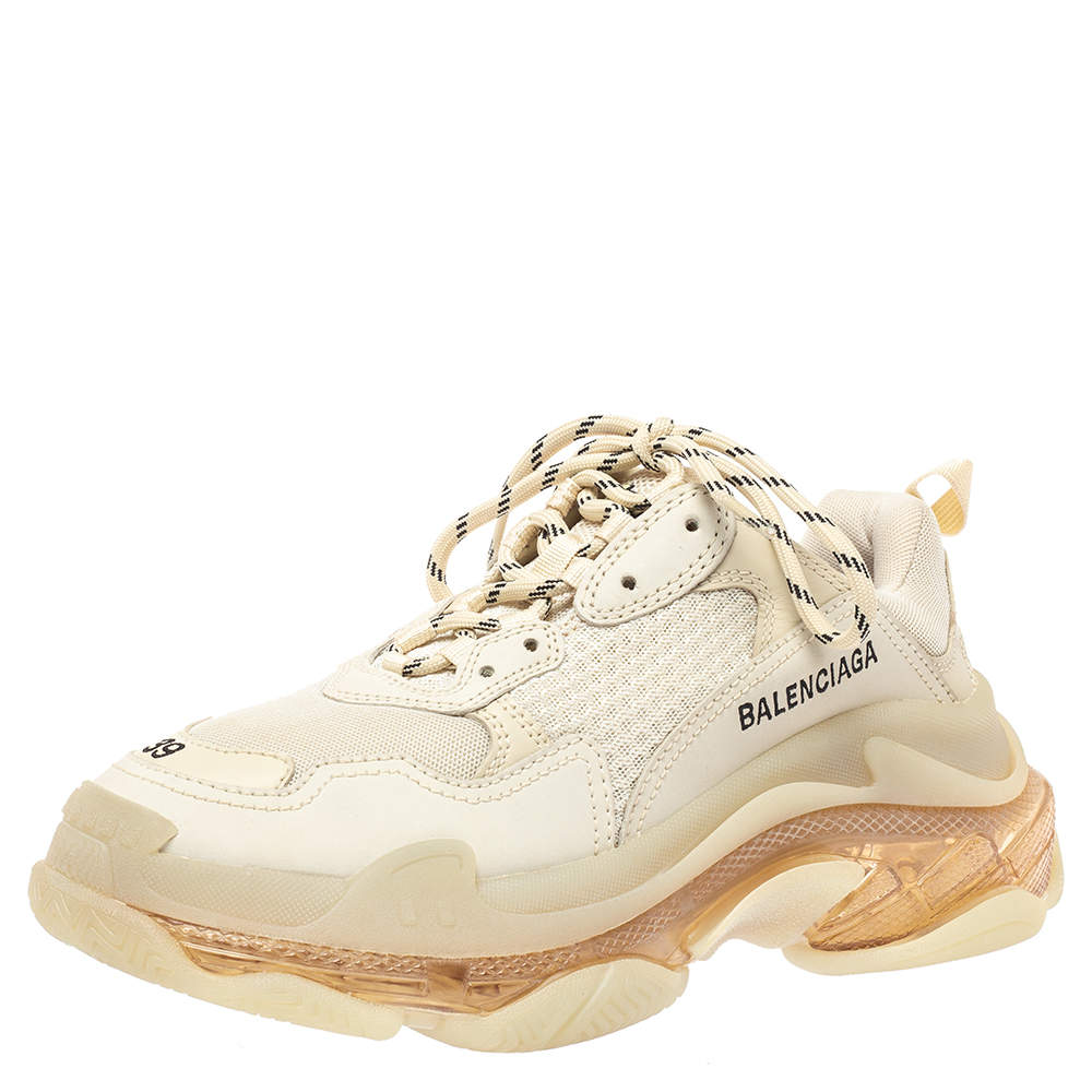 Balenciaga Off White Mesh And Leather Triple S Clear Sole Low Top Sneakers Size 39