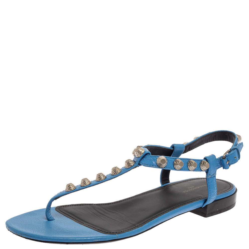 Balenciaga Blue Leather Studded Thong Flat Sandals Size 37.5