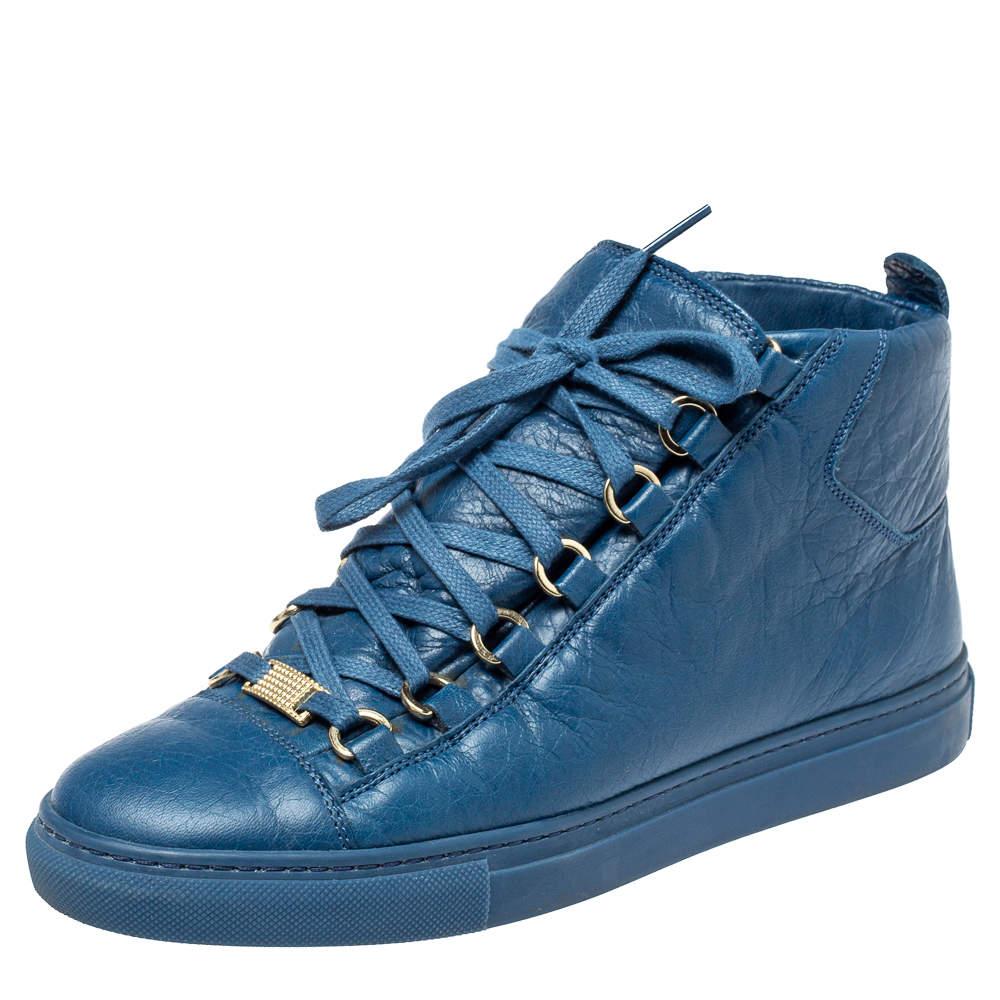 Balenciaga Blue Leather Arena High Top Sneakers Size 38
