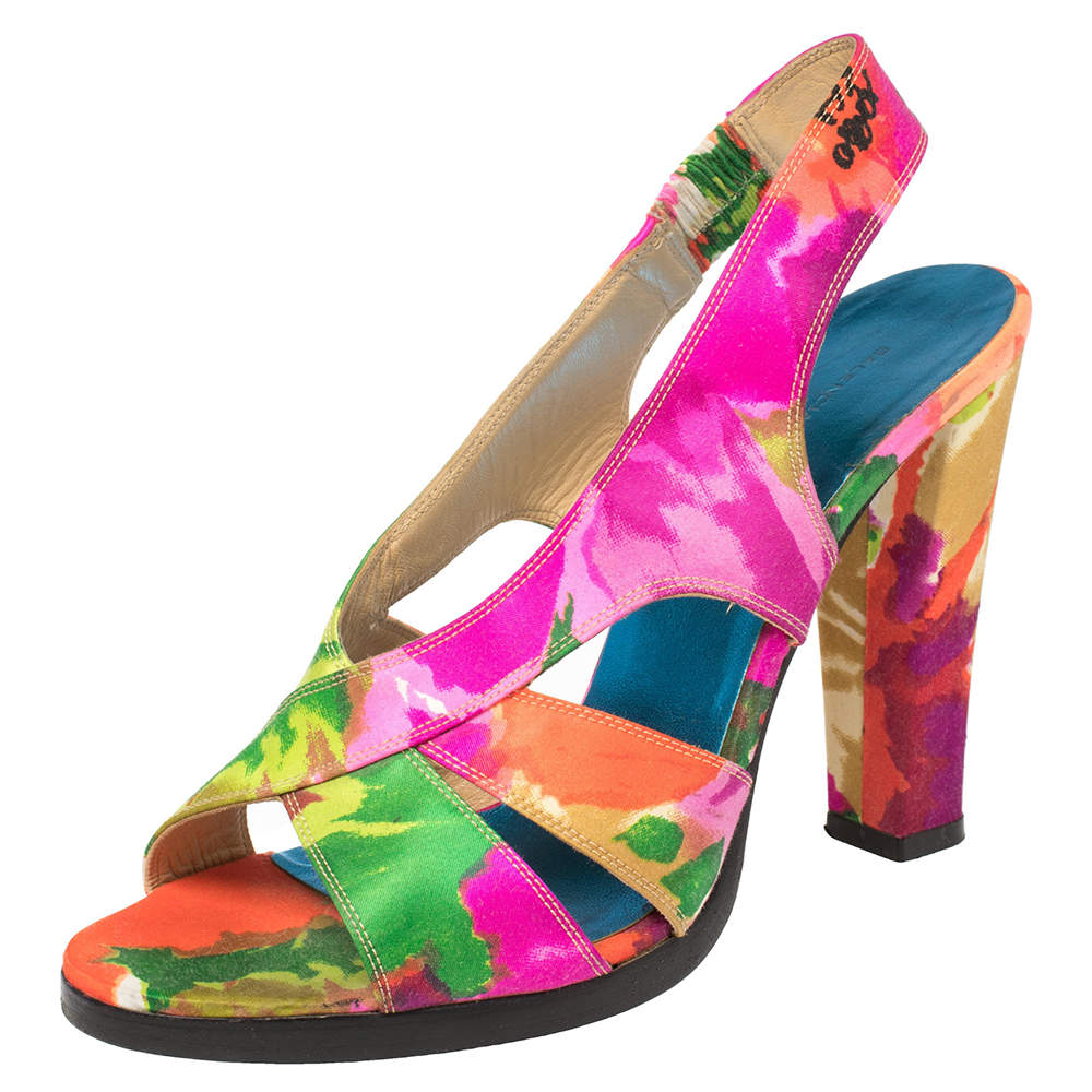 Balenciaga Multicolor Printed Satin Slingback Open Toe Sandals Size 39