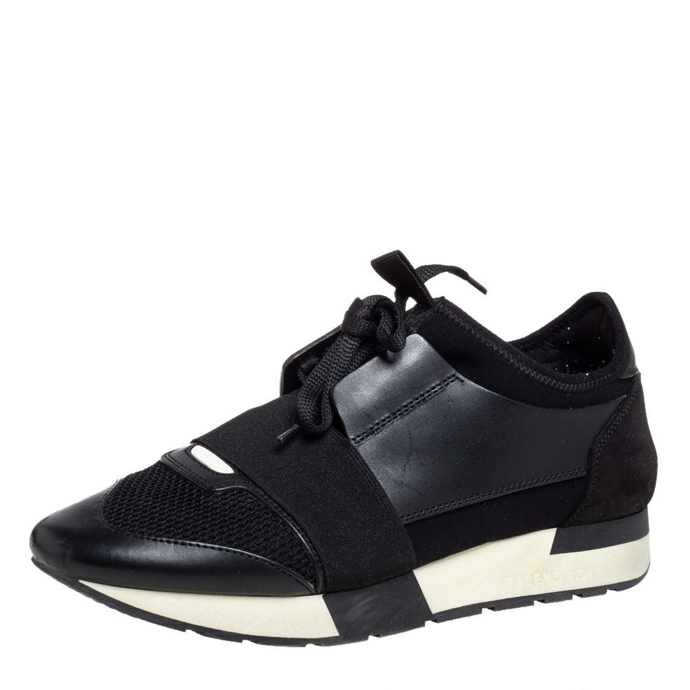 Balenciaga Black Mesh And Leather Race Runner Sneakers Size 38