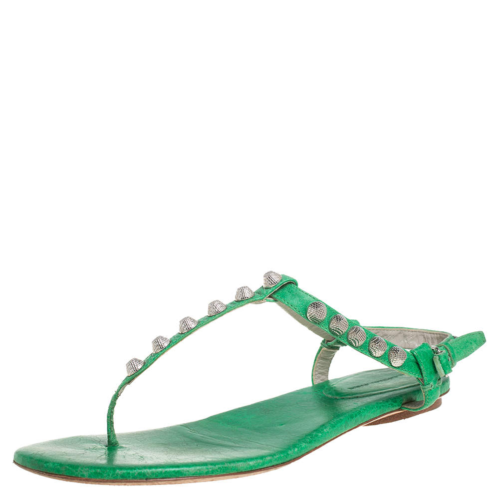 Balenciaga Green Leather Studded Thong Flat Sandals Size 39