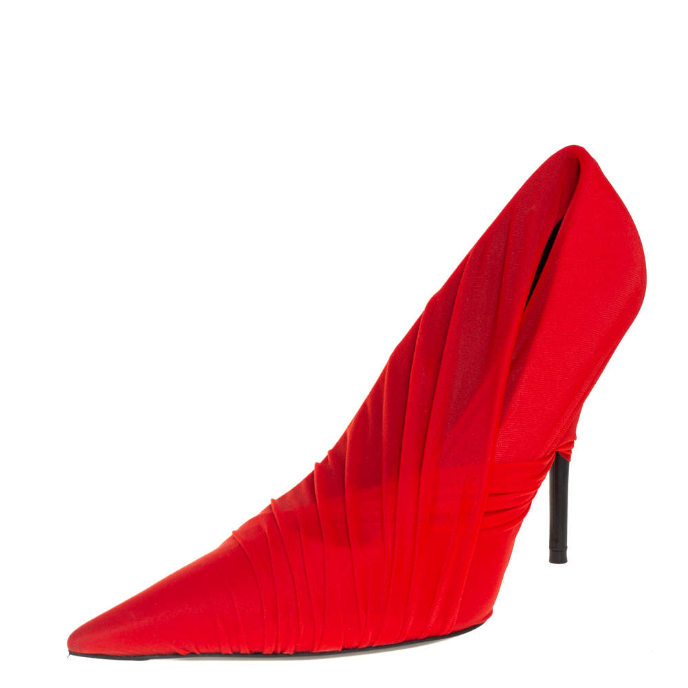 Balenciaga Red Stretch Fabric Pointed Toe Pumps Size 39.5