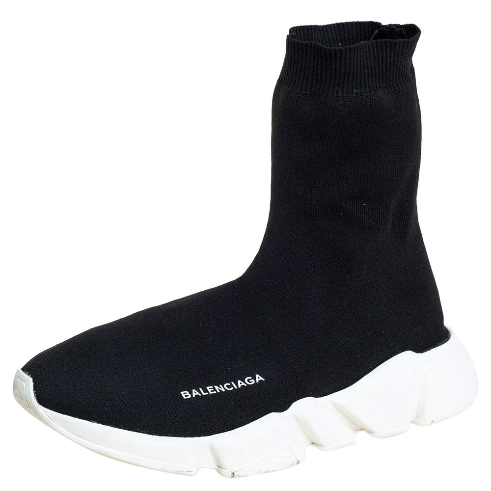 Balenciaga Black Cotton Knit Speed High Top Sneakers  Size 40