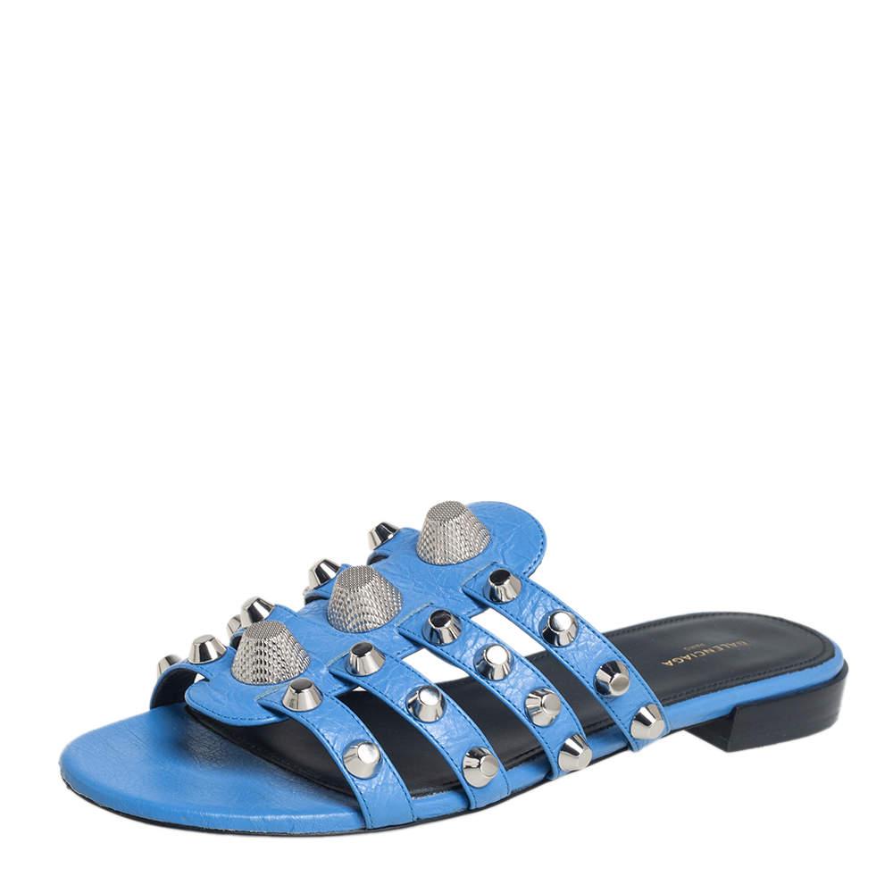 Balenciaga Blue Leather Studded Slide Sandals Size 38