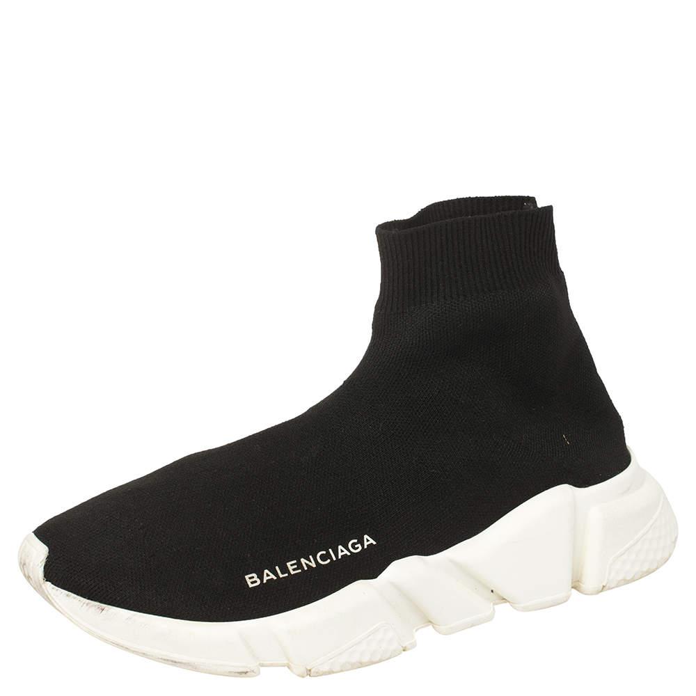 حذاء رياضي بالنسياغا مرتفع من أعلى سبيد ترينر قماش تريكو أسود مقاس 36