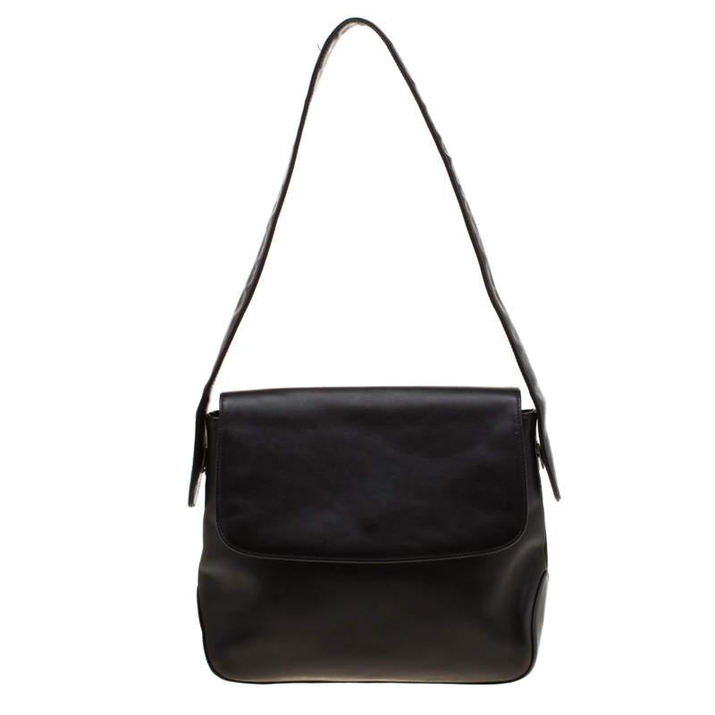 Bally Black Leather Flap Shoulder Bag