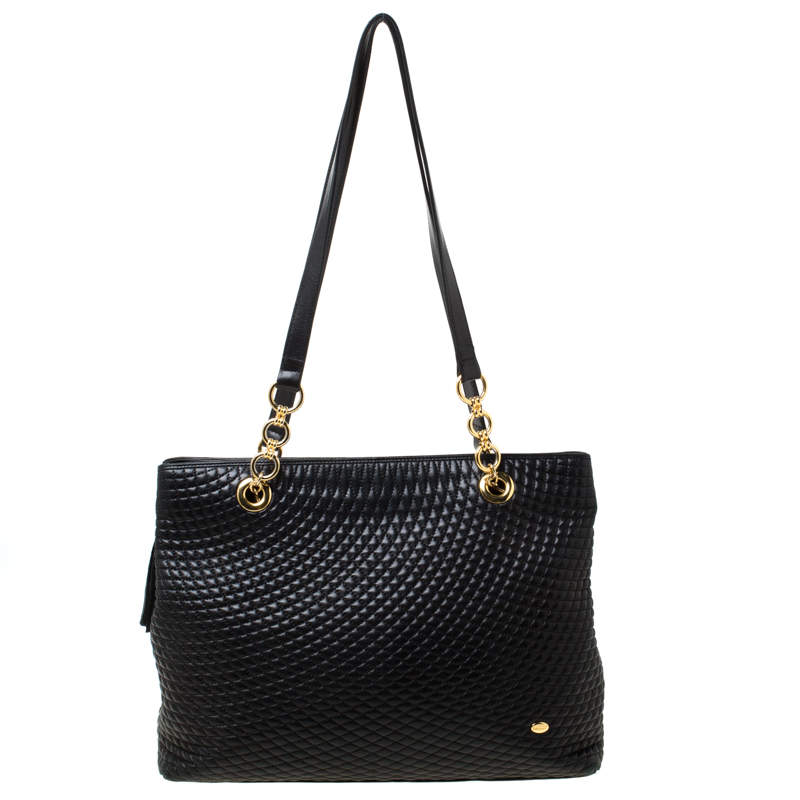Bally Black Quilted Leather Tassel Tote