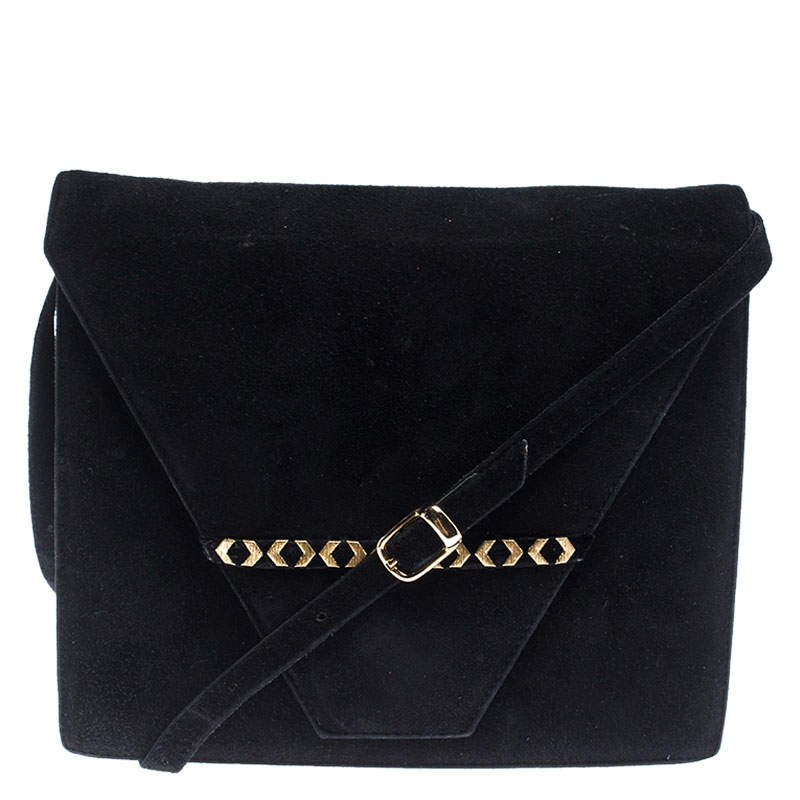 Bally Black Suede and Leather Flap Crossbody Bag