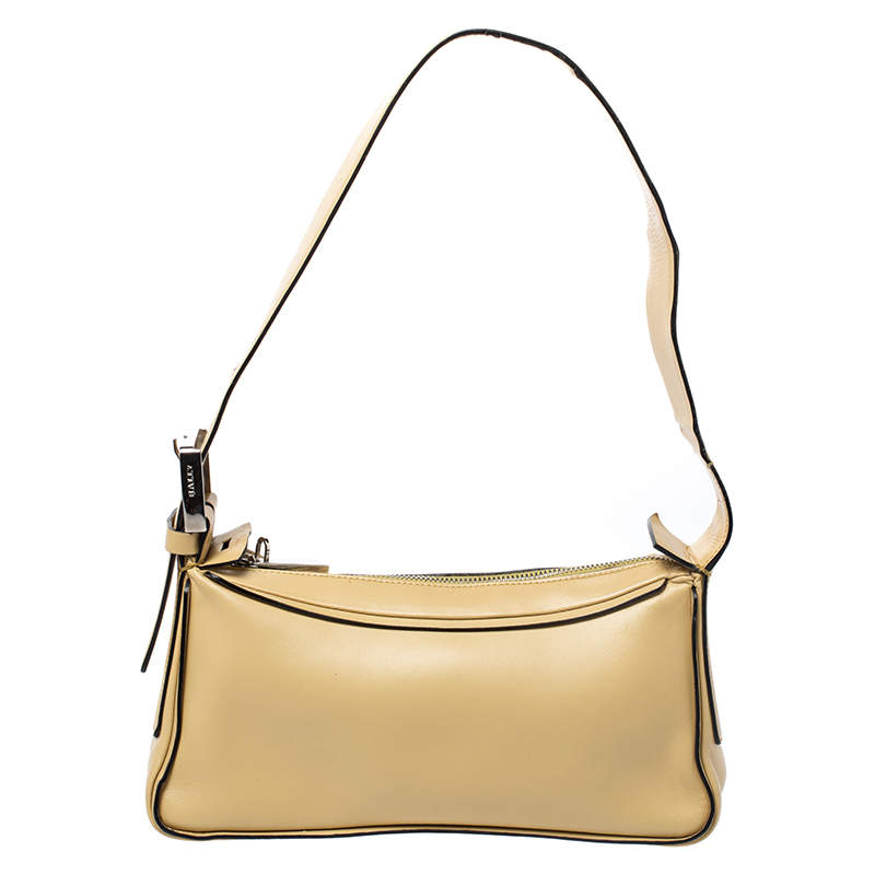 Bally Light Yellow Leather Zip Shoulder Bag