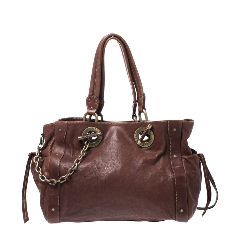 Bally Brown Leather Chain Shoulder Bag