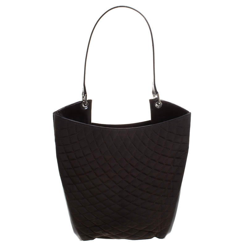 Bally Dark Brown Quilted Nylon and Patent Leather Hobo