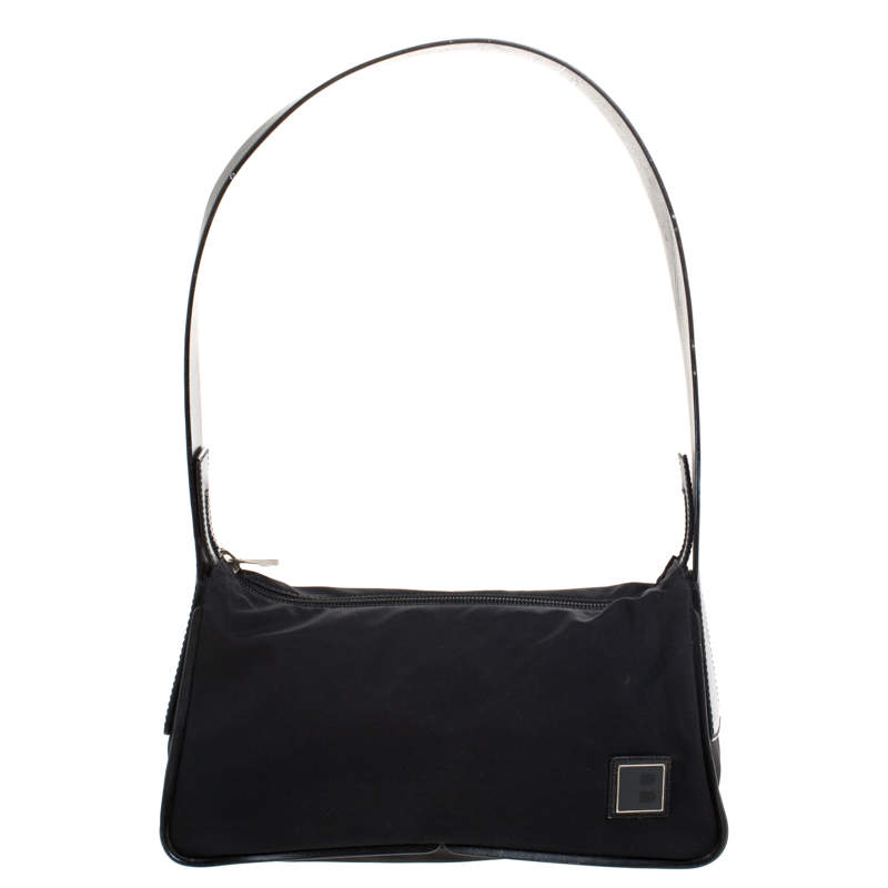 Bally Black Nylon and Leather Shoulder Bag