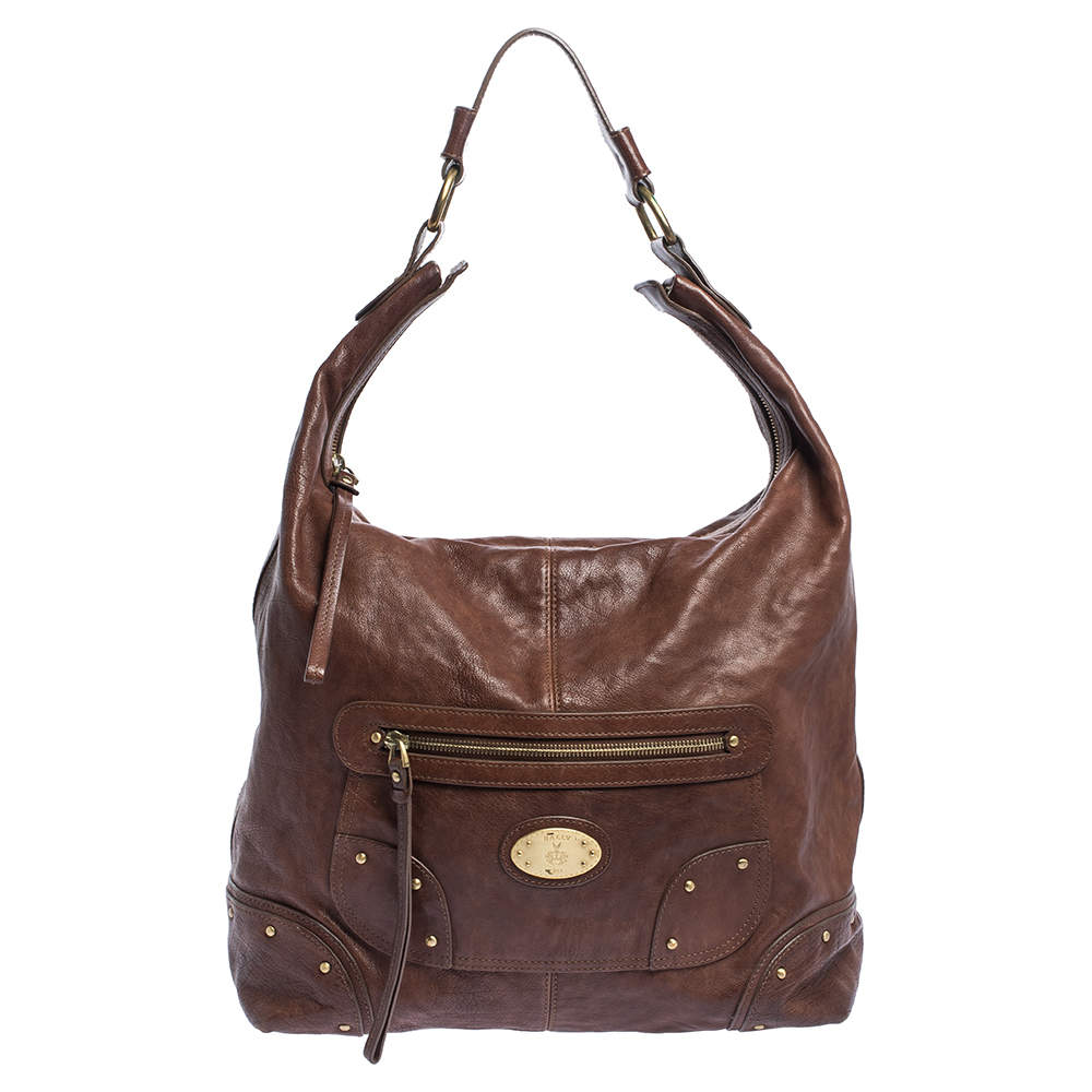 Bally Brown Leather Front Pocket Hobo