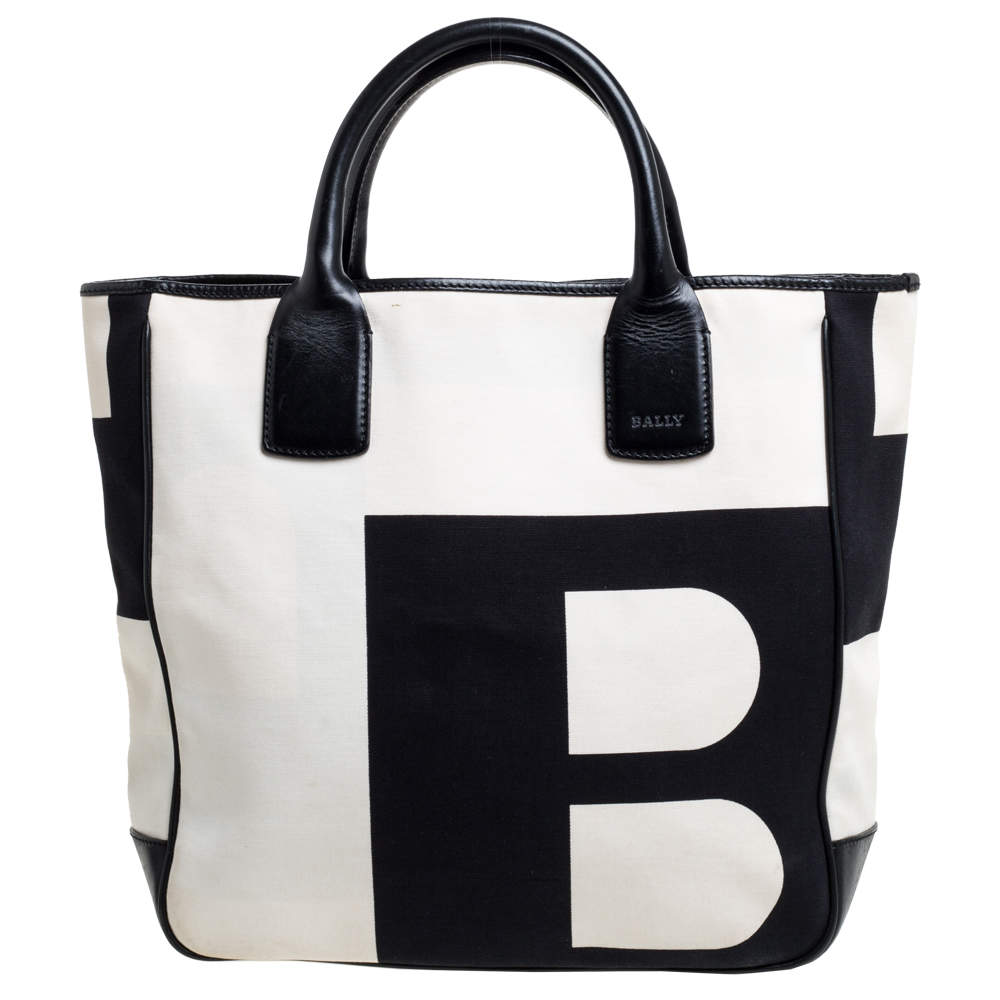 Bally Black/White Canvas and Leather Bennas Tote