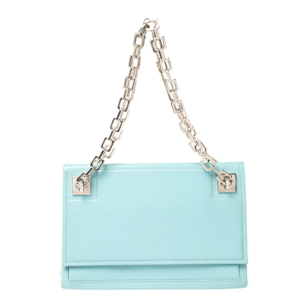 Bally Blue Leather Chain Shoulder Bag