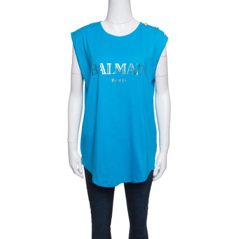 Balmain Blue Cotton Shoulder Logo Button Detail Sleeveless T-Shirt L