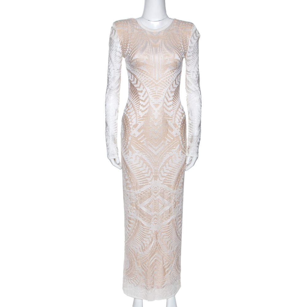 Balmain White Geometric Open Knit Long Sleeve Fitted Dress M