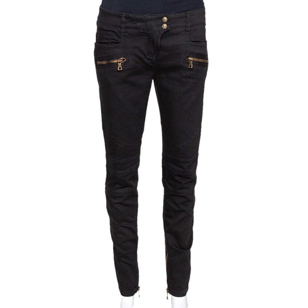 Balmain Black Denim Zip Detail Slim Fit Jeans M
