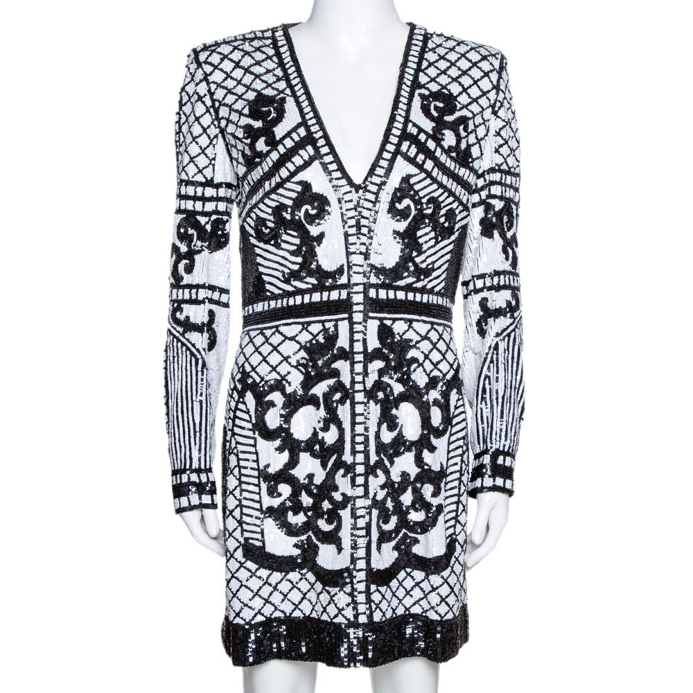 Balmain Monochrome Baroque Sequin Embellished Mini Dress M