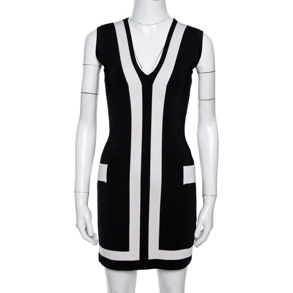 Balmain Black Stretch Knit Contrast Trim Sleeveless Bodycon Dress M