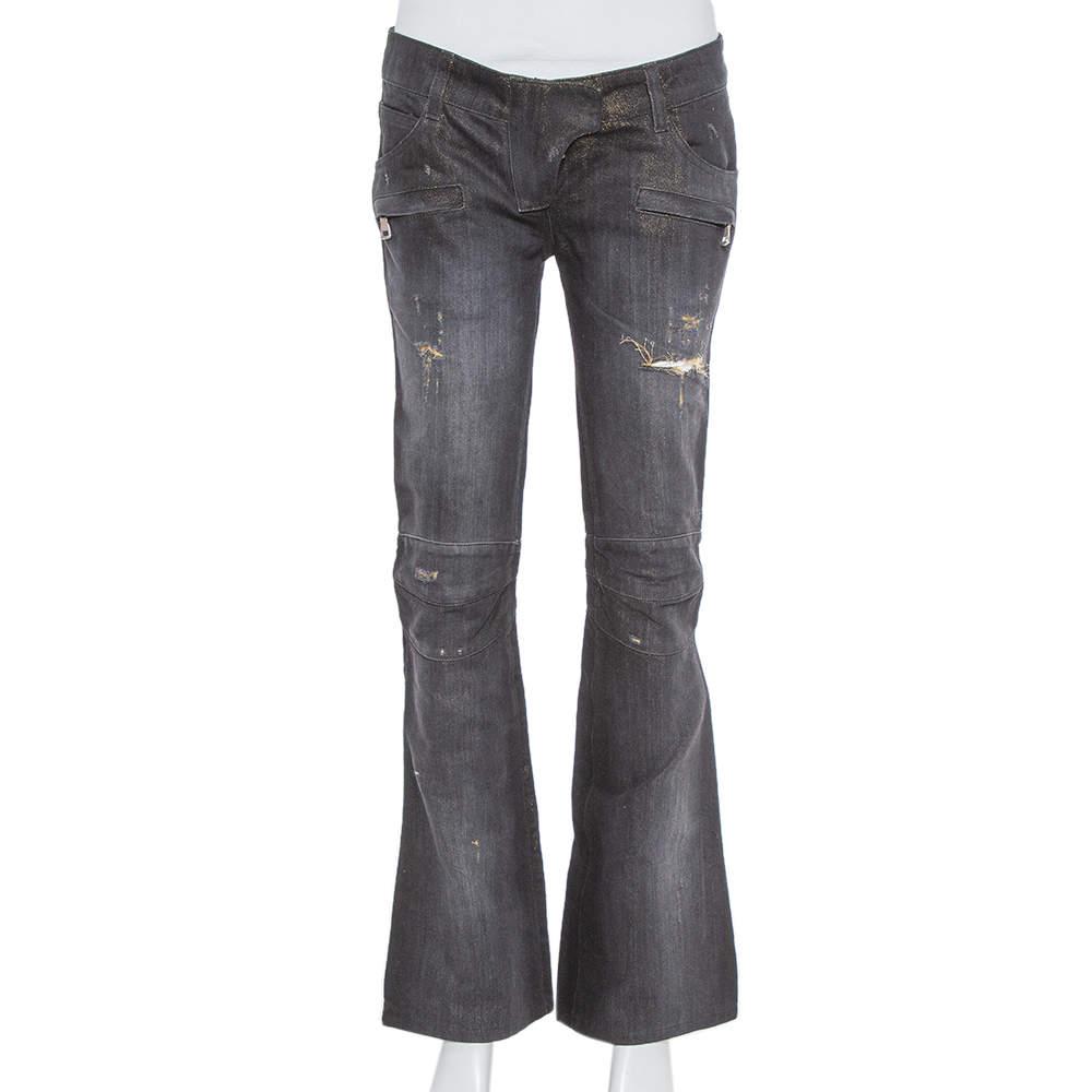 Balmain Black & Metallic Gold Denim Paneled Distressed Bootcut Jeans S