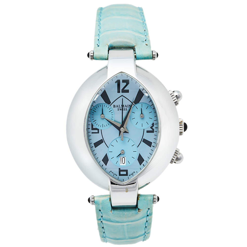 Balmain Mother Of Pearl Stainless Steel Leather Excessive Chrono 5831 Women's Wristwatch 32 mm