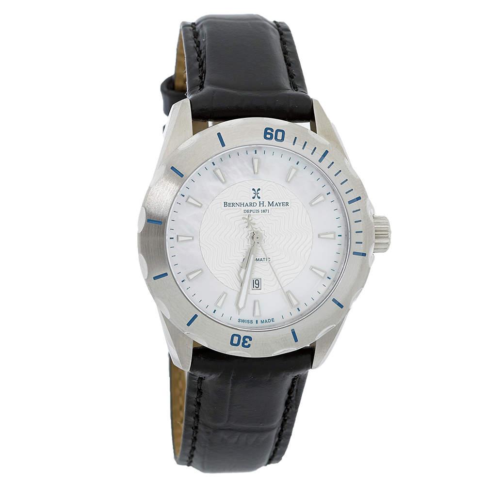 "ساعة يد نسائية برنارد اتش. ماير إصدار محدود ""بي أتش04 بالاد"" جلد و صدف بيضاء 34 مم"
