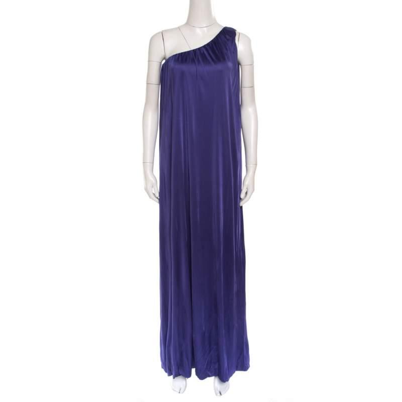 Blumarine Purple Knit One Shoulder Draped Maxi Dress M
