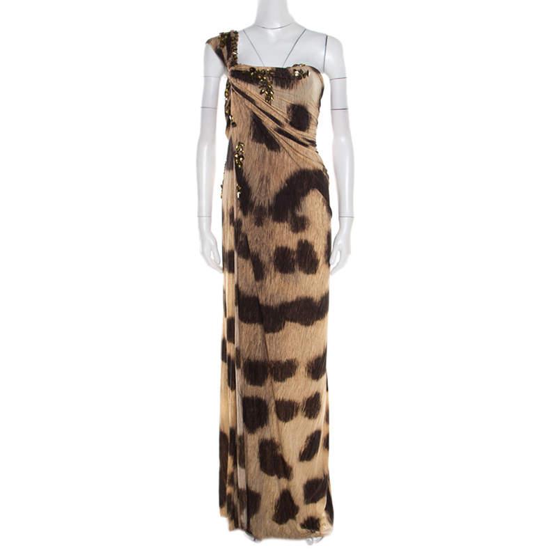 Blumarine Brown Animal Printed Embellished Ruched One Shoulder Dress M