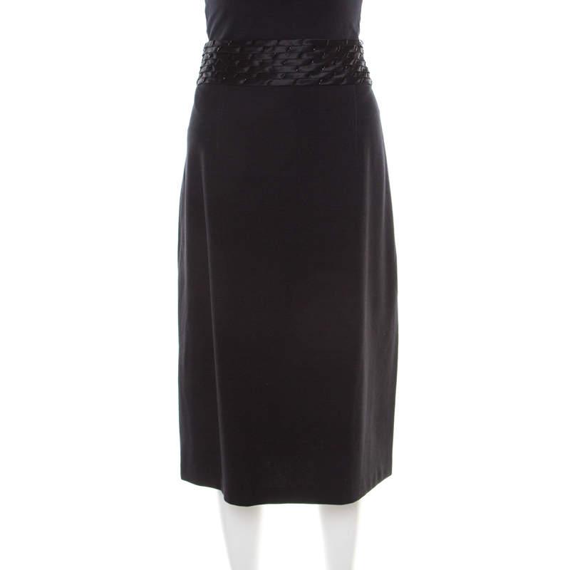 Blumarine Black Knit Embellishemd Waist Detail Pencil Skirt L